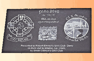 Feile Club Plaque Slate Engraved Club Crests Local Image